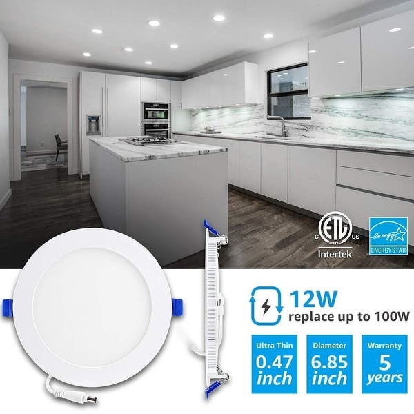 8pk 9W 5000k 4 inch Ultra Thin Led Recessed Ceiling Light with Junction Box