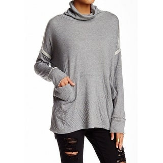 Free People NEW Gray Womens Size XS Two Pocket Turtleneck Mock Sweater