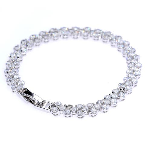 A Girl's Best Friend Bangle Bracelet, Silver and Zircon
