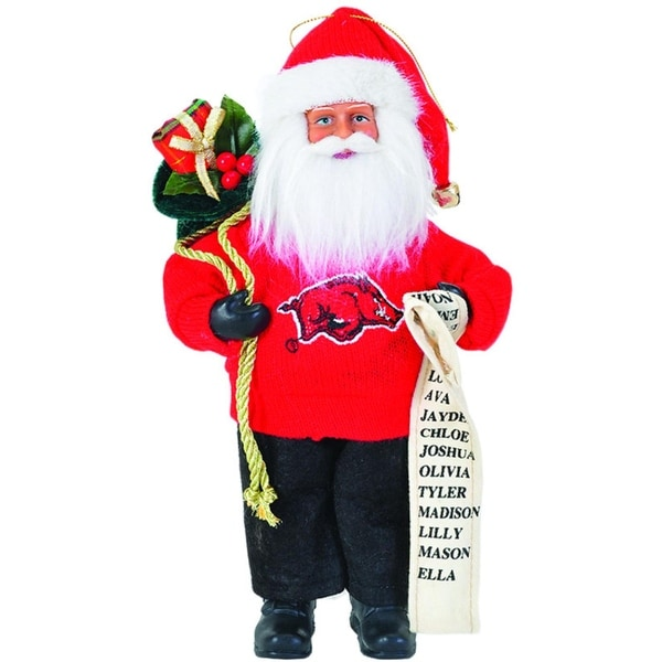 "9"" NCAA Arkansas Razorbacks Santa Claus with Good List Christmas Ornament - RED"