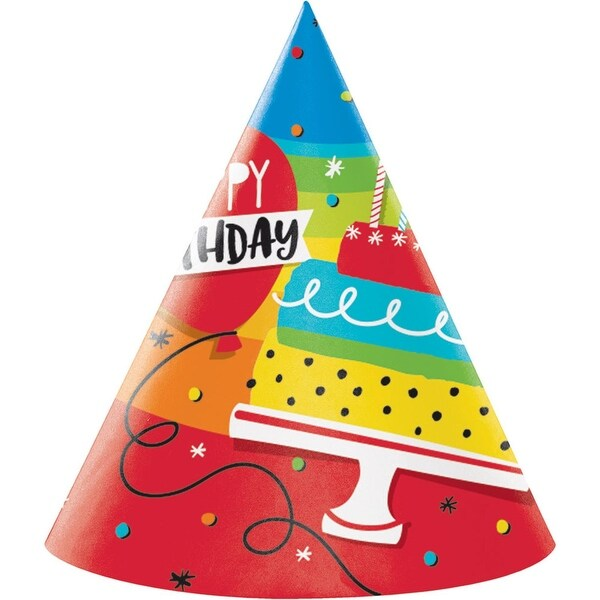 Shop Club Pack Of 48 Vibrant Colored Hoppin Happy Birthday Printed Adult Cone Hats 72
