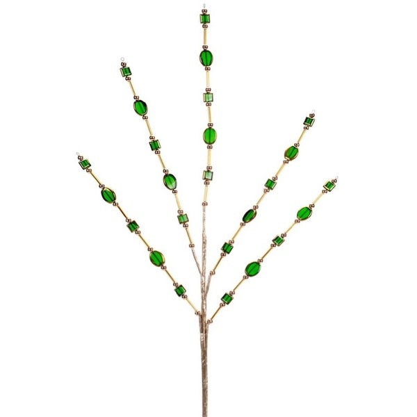Pack of 12 Gold and Green Jewel Beaded Decorative Christmas Sprays 22""