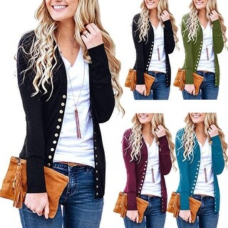 Women'S Cardigan Sweater V-Neck Button Down Knitwear Long Sleeve Soft Basic Knit Snap Cardigan Sweater