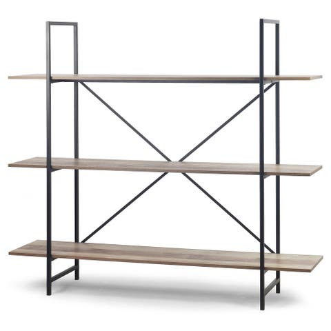 """August 56"""" Light Brown Metal Frame Etagere Three Wide Shelf Bookcase"""