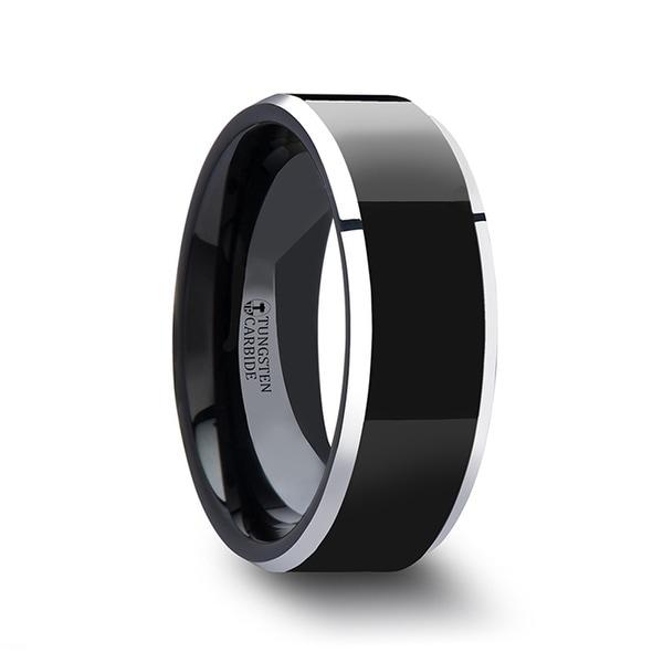 THORSTEN - MACLAREN Black Polish Finished Center Tungsten Carbide Ring with Metallic Beveled Edges