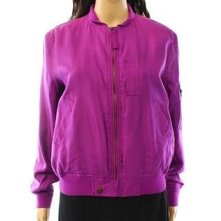 Lauren Ralph Lauren NEW Purple Women's 2 Full Zip Bomber Jacket Silk