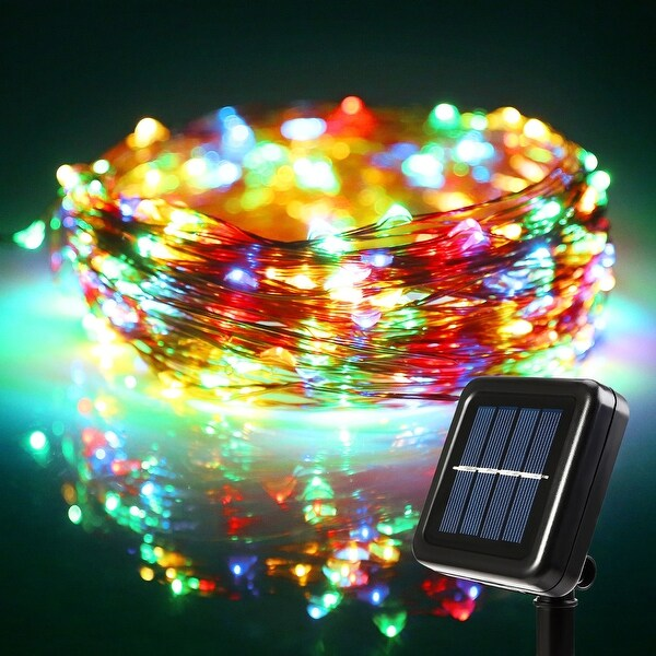 72ft LED Starry String Lights, 200 Multicolor RGBY LEDs, Solar Powered Flexible Copper Wire Christmas Lights,8 Modes