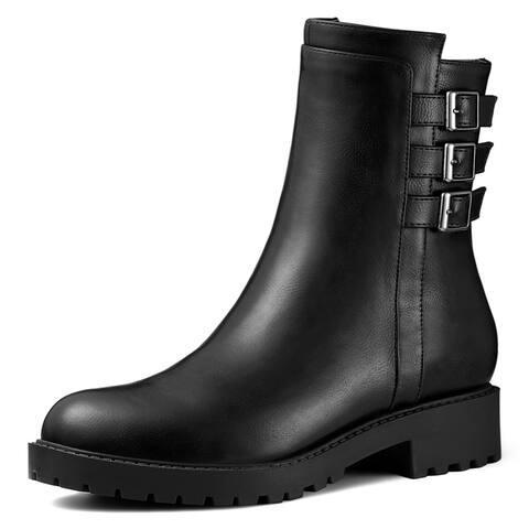 Women's Round Toe Block Heel Mid Calf Combat Boots
