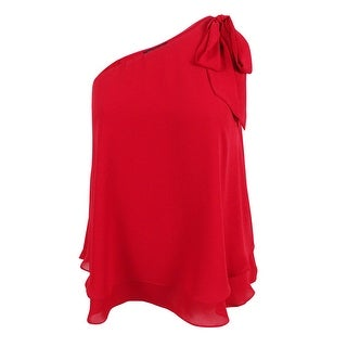 INC International Concepts Women's One-Shoulder Bow Blouse (0, Real Red)