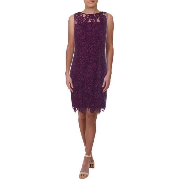 Lauren Ralph Lauren Womens Party Dress Lace Scalloped