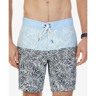 Nautica Blue Mens Size 2XL Drawstring Printed Trunks Swimwear