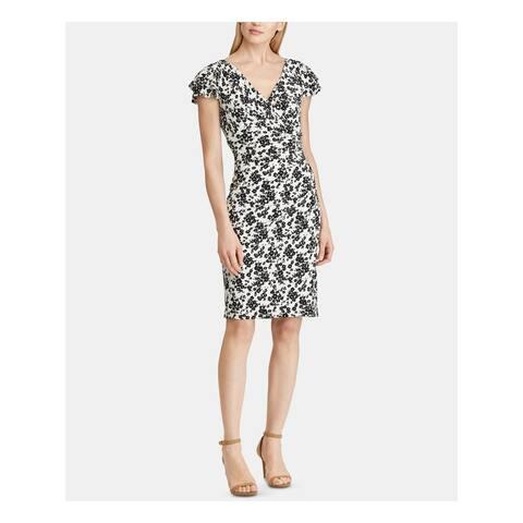 RALPH LAUREN White Short Sleeve Knee Length Sheath Dress Size 16