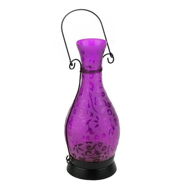"12.5"" Transparent Purple Decorative Glass Bottle Tea Light Candle Lantern with Flower Etching"