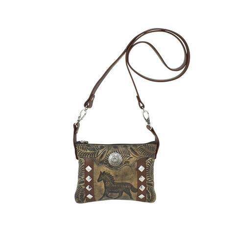 American West Western Handbag Hitch'N Post Trail Charcoal - Charcoal Brown - 8 x 6 x 1