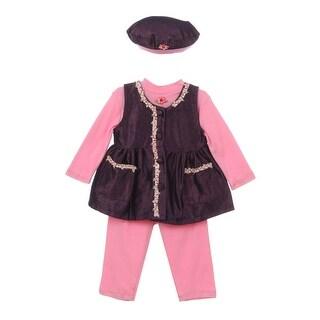 Baby Girl Pink Dark Blue Bonnet Flower Pocket Long Sleeve Pants Outfit 9M