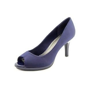 Bandolino Super Model Open-Toe Canvas Heels