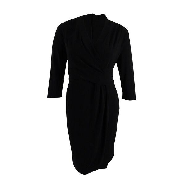 Shop Anne Klein Womens Plus Size Wrap Dress 2x Black Black