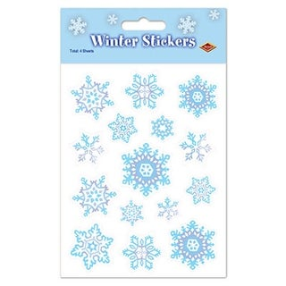 "Club Pack of 48 Blue and White Winter Snowflake Sticker Sheets 4.5"" x 7.5"""