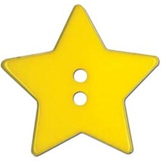 "Yellow Star 2-Hole 1-1/8"" 2/Pkg - Slimline Buttons Series Funtastics"