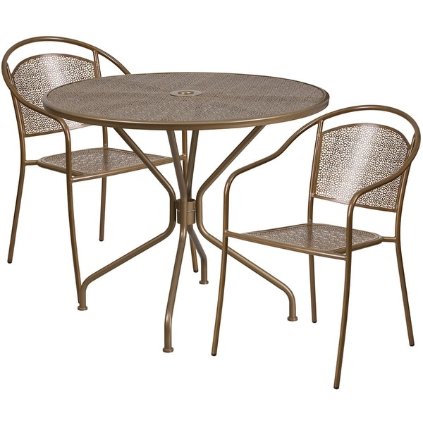Attrayant Sterling Round 35.25u0026#x27;u0026#x27; Gold Indoor Outdoor Steel Table
