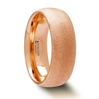 THORSTEN - EMBER Domed Tungsten Carbide Ring with Rose Gold Plating and Sandblasted Crystalline Finish