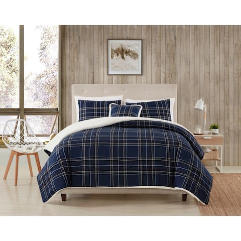 Asher Home Plaid and Sherpa Comforter Set