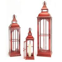 Set of 3 Red Metal & Glass Pillar Candle Lanterns 19.75 - 37""