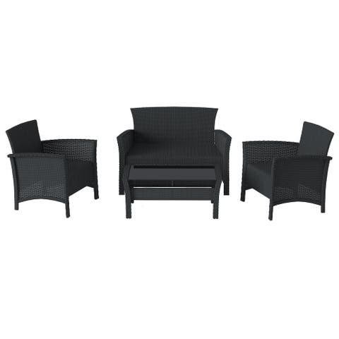 CorLiving Cascade Rattan Wicker 4pc Patio Set - Frame only / Cushions sold separately