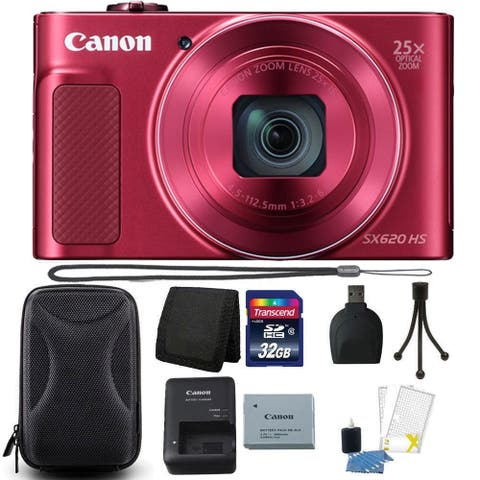 Canon PowerShot SX620 HS 20.2MP Digital Camera Red + 32GB Memory Card Kit