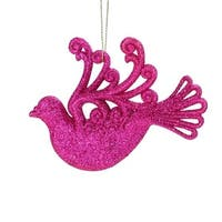 4.5 in. Fuchsia Glitter Drenched Dove Bird Christmas Ornament