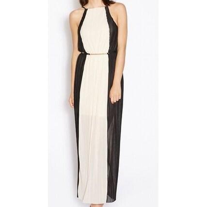 c7374f23fa6d9 Miss Selfridge NEW Pink Black Womens Size 4 Chiffon Pleated Maxi Dress