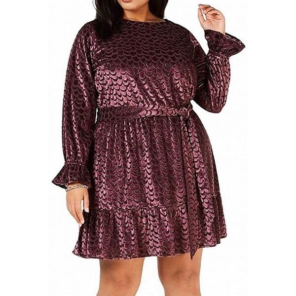 Michael Kors Women's Dress Purple Size 2X Plus A-Line Smocked Velvet. Opens flyout.