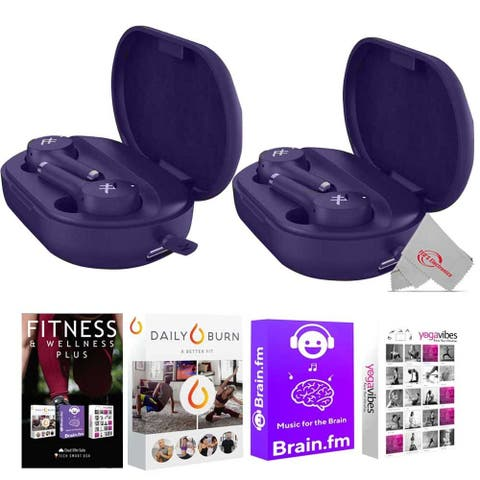 Two iFrogz - Airtime Pro True Wireless in Ear Bluetooth Earbuds - Violet + 92783 Fitness and Wellness Plus Software Suite