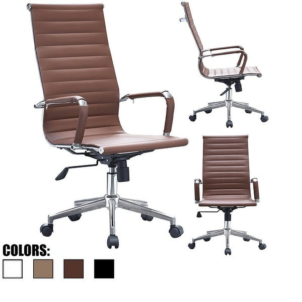 2xhome Brown Executive Ergonomic High Back Modern Office Chair Ribbed PU Leather Swivel for Manager Conference Computer Desk