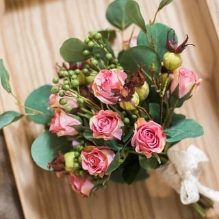 "RusticReach Artificial Flower Bouquet Pink Rose Flower in the Greenery 12"" Tall"