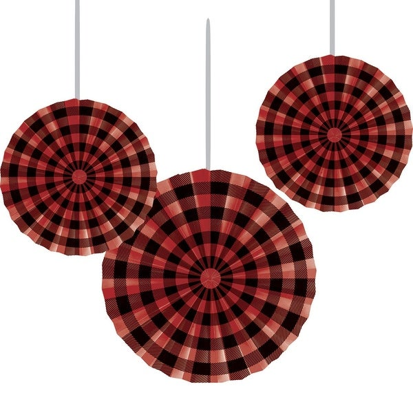 """Club Pack of 18 Black and Red Hanging Paper Fan Party Decorations 16"""""""