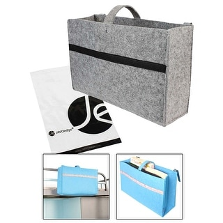 JAVOedge Gray Felt Bedside Clip On Storage Bag for Books / Remote / Documents / Toys