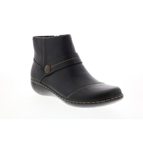 Clarks Ashland Pine Black Leather Womens Casual Dress Boots