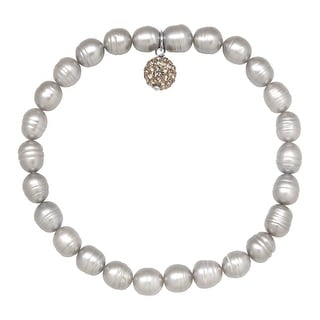 Honora 6-7 mm Grey Freshwater Ringed Pearl Bracelet with Crystals in Sterling Silver