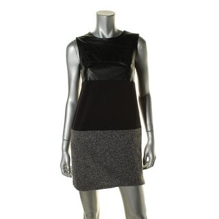Calvin Klein Womens Petites Colorblock Faux Leather Wear to Work Dress