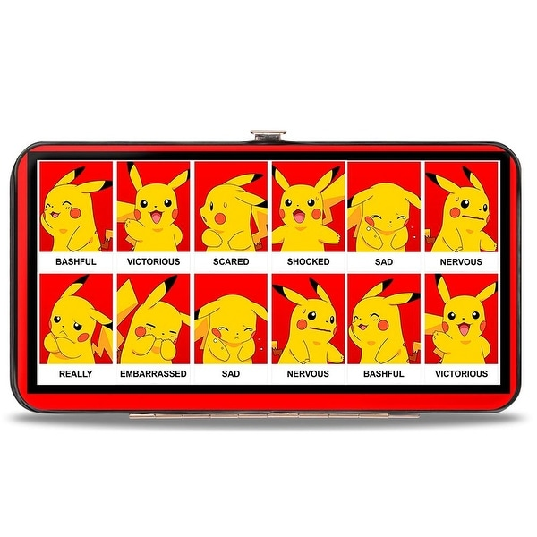 Pikachu 8 Mood Blocks Red Black White Hinged Wallet - One Size Fits most