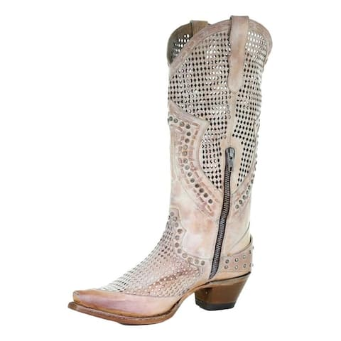 Corral Western Boots Womens Cutouts Harness Studs Pink