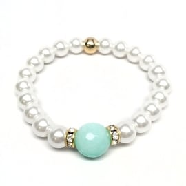 Pearl & Aqua Jade 'Joy' stretch bracelet 14k Over Sterling Silver