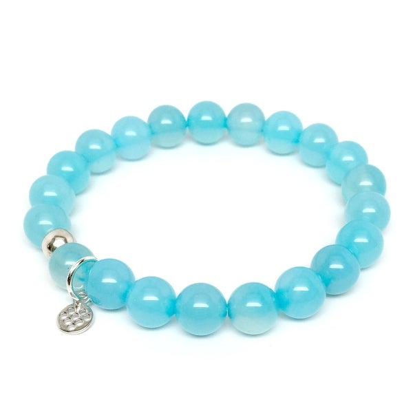 "Turquoise Quartz Lucy 7"" Sterling Silver Stretch Bracelet"