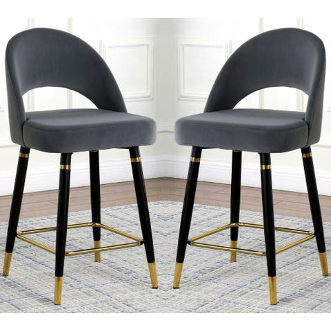 Elegent Modern Design Grey Velvet with Black and Gold legs Counter Height Dining Stools (Set of 2)
