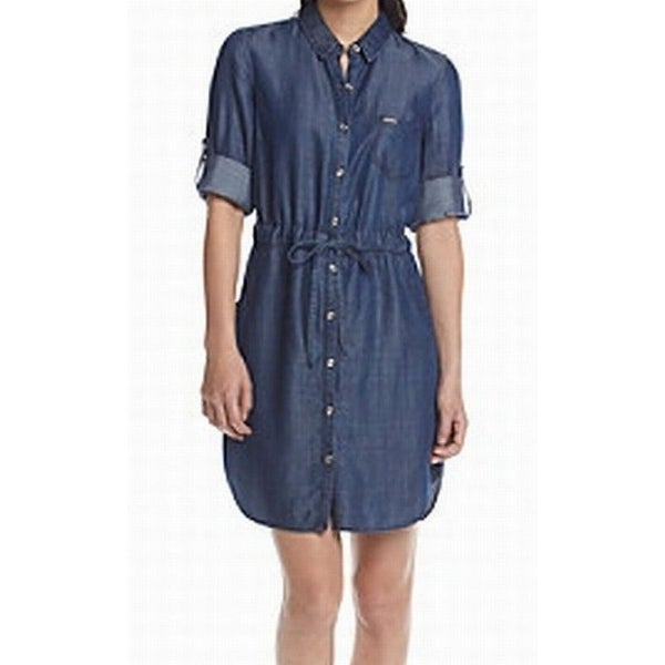 74eee27fcf1 Shop Tommy Hilfiger NEW Blue Womens Size 8 Button Down Denim Shirt Dress -  Free Shipping On Orders Over  45 - Overstock - 18324572