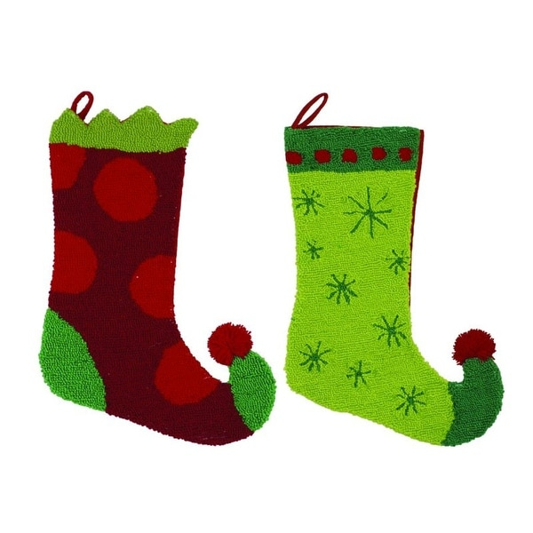 """Pack of 4 Bright Red and Green Plush Elf Boot Christmas Stockings 17"""" - multi"""