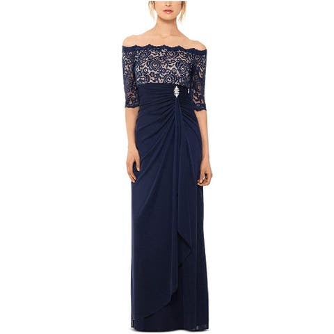 Betsy & Adam Women Off-The-Shoulder Lace Gown, Navy/Nude, 12
