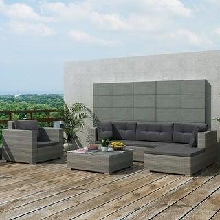 "vidaXL 6 Piece Garden Lounge Set with Cushions Poly Rattan Gray - 28"" x 28"" x 25"""