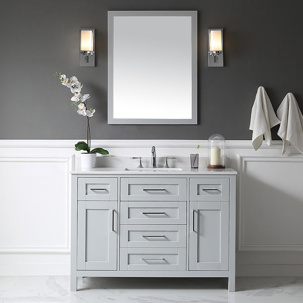 Tahoe 48in Vanity In Dove Grey With White Cultured Marble Top And Mirror Overstock 14290294